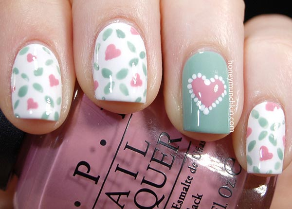 pastel petals hearts pretty nails