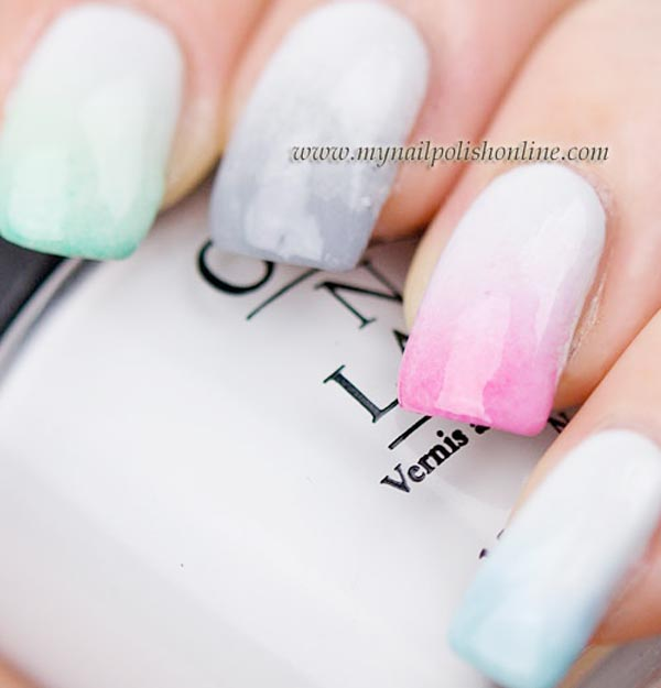 pastel rainbow gradient nails