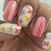 pastel stripes flowers spring nails