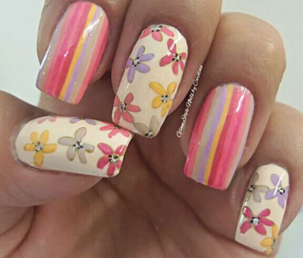 pastel stripes flowers spring nails