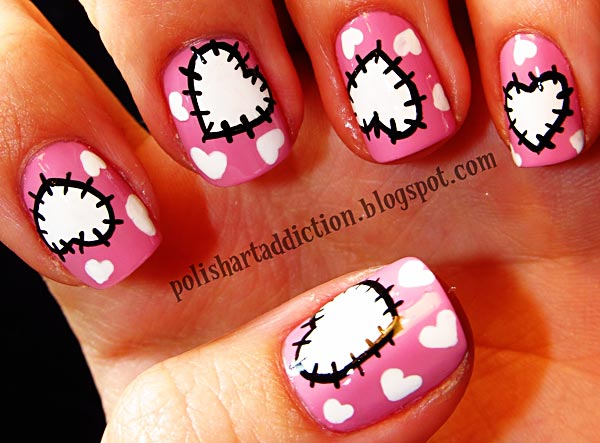 patchy hearts girly nails