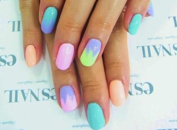 peach blue pink mix pastel nails