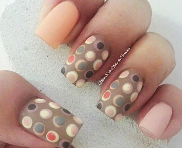 peach lavender soft dotted mocha nails