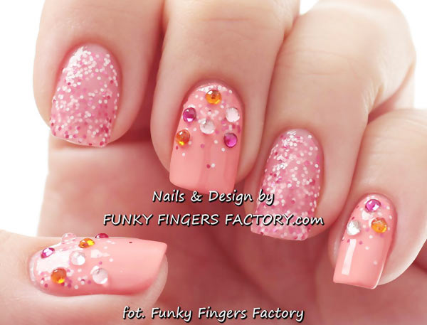 peach pink glitter rhinestones girly nails