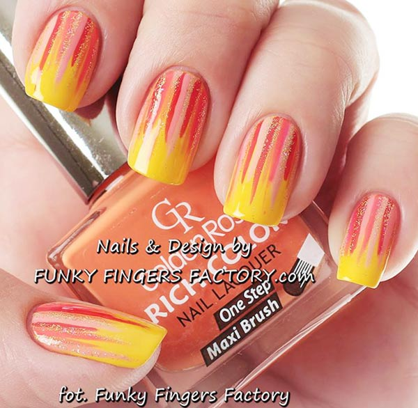 peach yellow gold stripes summer nails