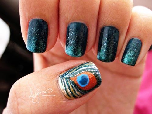 peacock blue nails