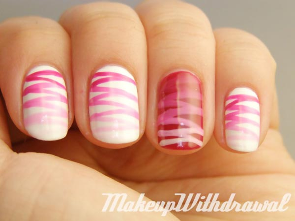 perfect gradient stripes white nails