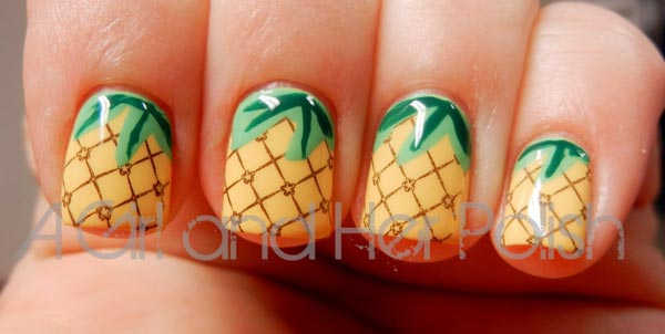 pineapple summer nails