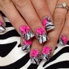 pink 3D bows zebra french nails