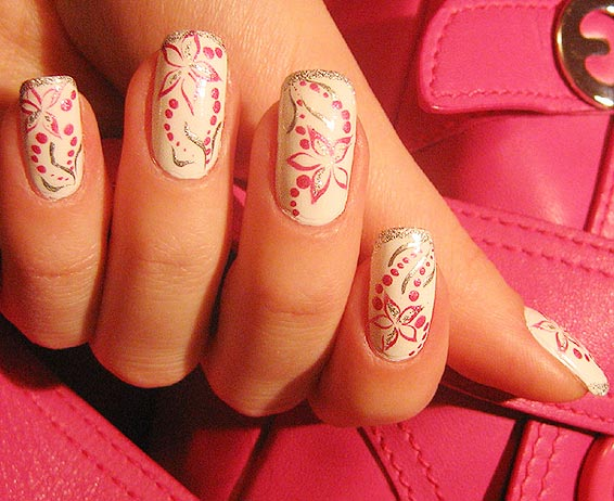 pink and silver flowers nails