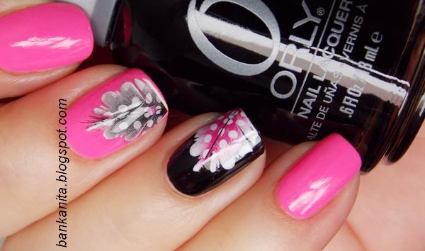 pink black feathered nails