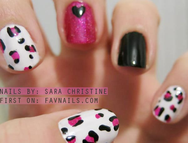 pink black leopard accents white nails