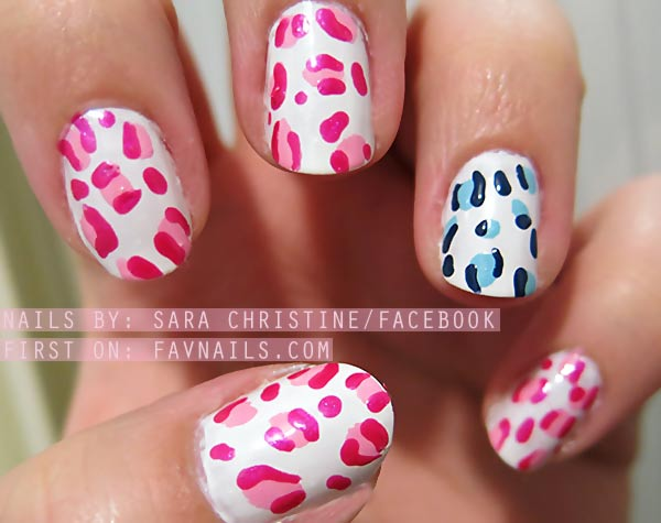 pink blue cheetah freehand girly nails