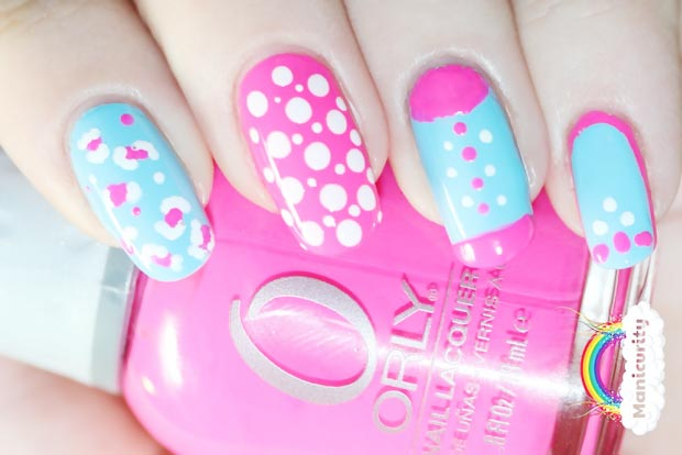 pink blue dotted leopard neon nails