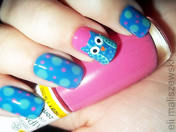 pink blue dotted owl halloween nails
