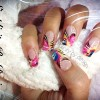 pink blue neon artistic french nails