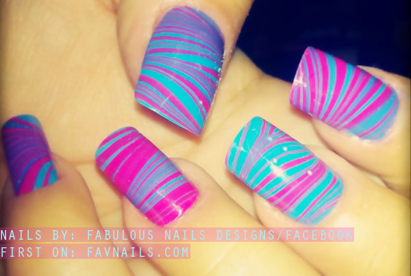 pink blue neon marbled nails