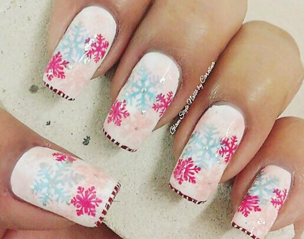 pink blue snowflakes winter nails