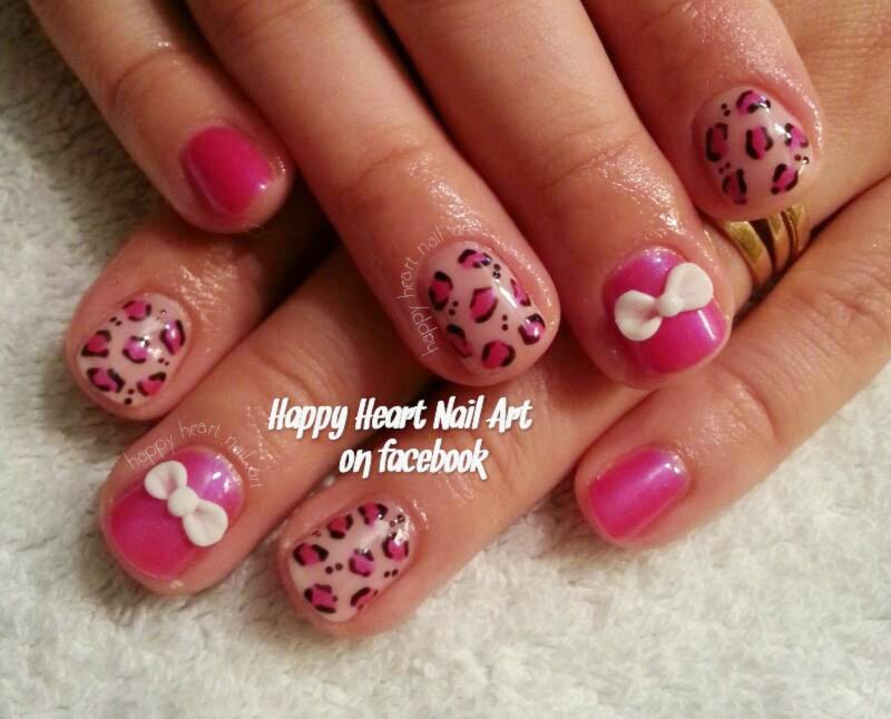 pink cheetah 3D bow girly nails