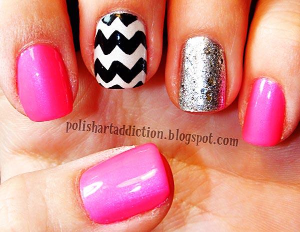 pink chevron silver nails