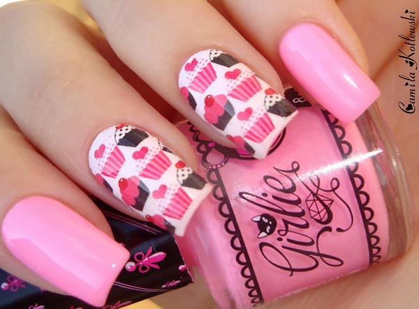 pink cupcakes girly party nails