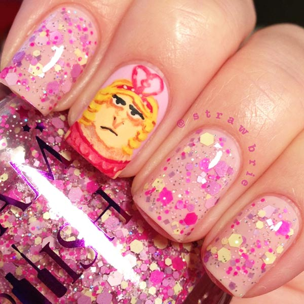 pink despicable me princess gru glitter nails