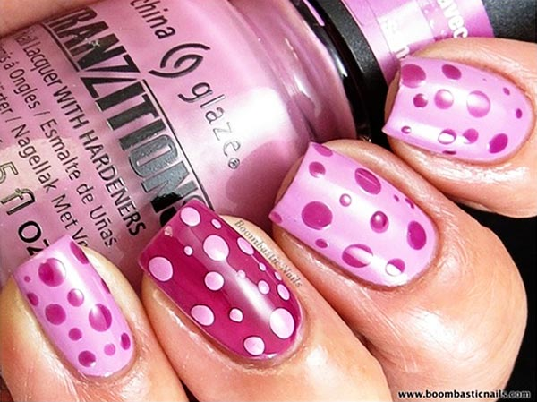 pink dots on pink nails
