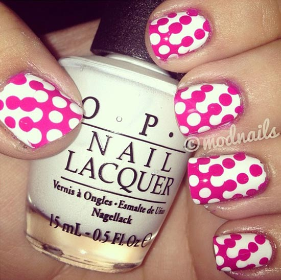 pink dots white nails