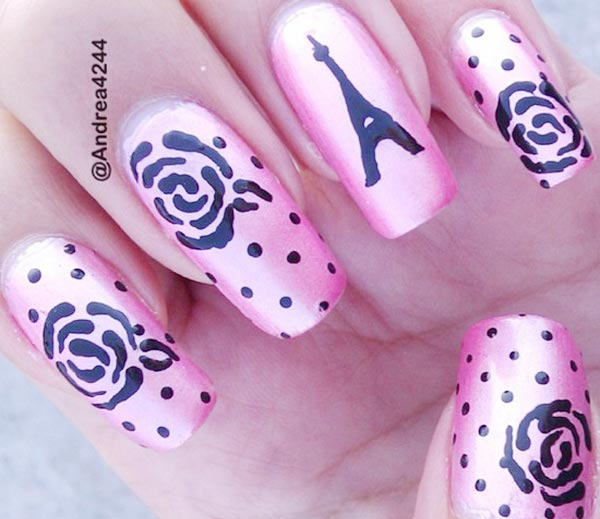 dots roses paris pink romantic nails
