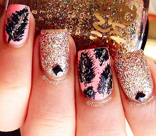 pink feathered glitter accent nails