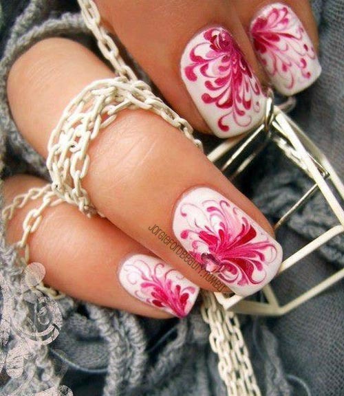 pink flowers white nails