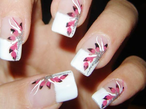 pink freehand flowers french nails