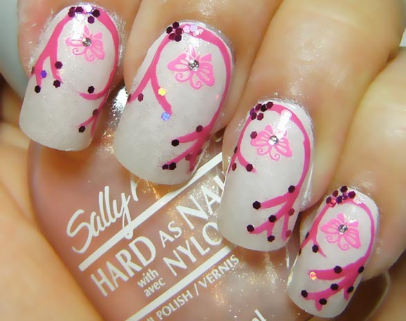 pink freehand stamped butterfly girly nails