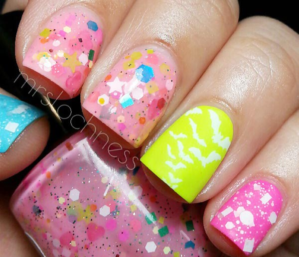 pink glitter confetti bats yellow nails