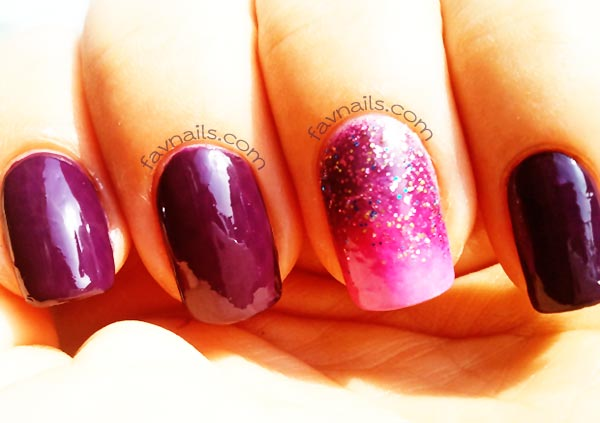 glitter gradient pink deep plum nails