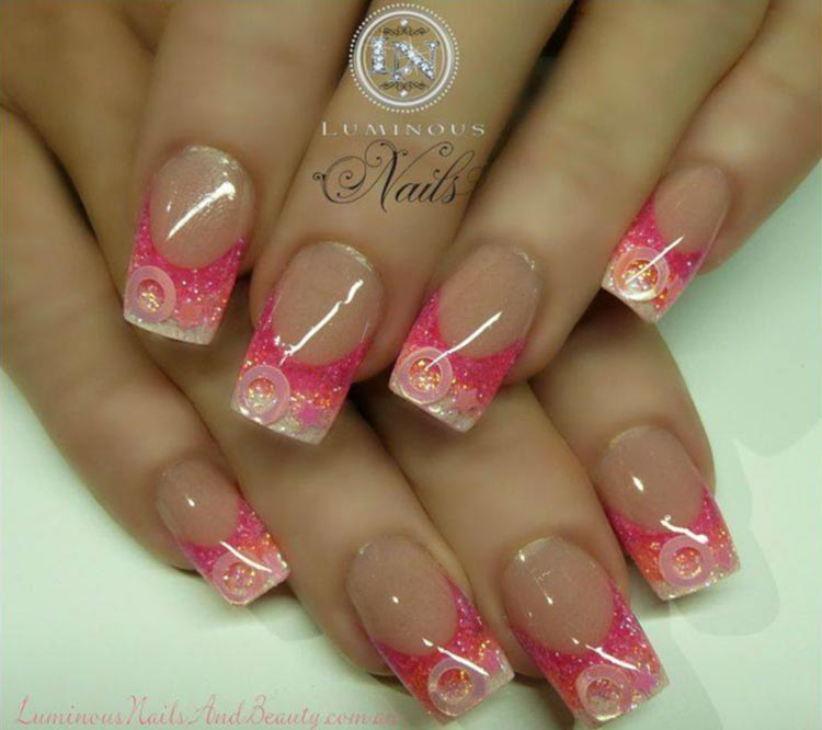 pink glitter gradient french nails