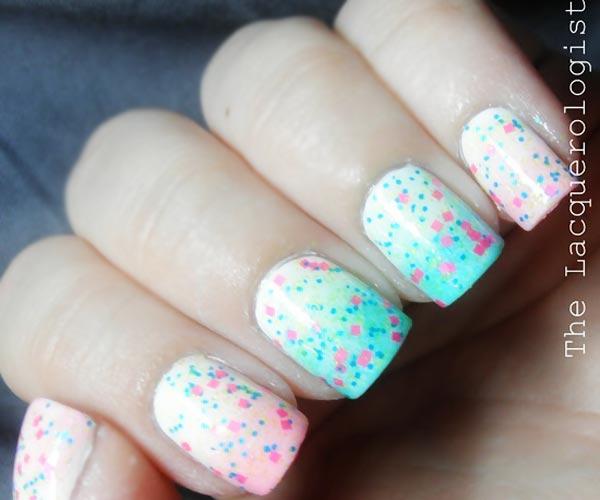pink glitter pink blue gradient nails