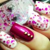 pink glitter reversed accent burgundy nails