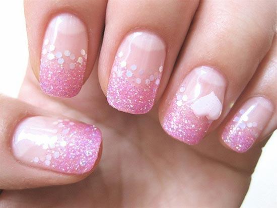 pink glitter gradient valentines day nails