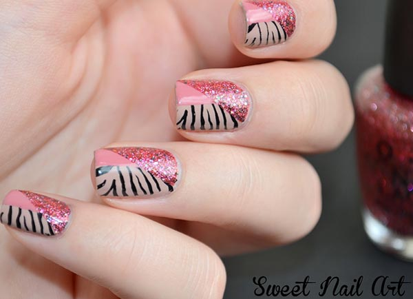 pink glitter geometry zebra nails