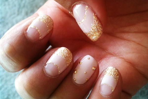 pink gold glitter french party new year's eve nails