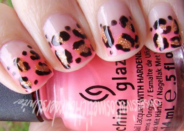 pink gradient black gold leopard nails
