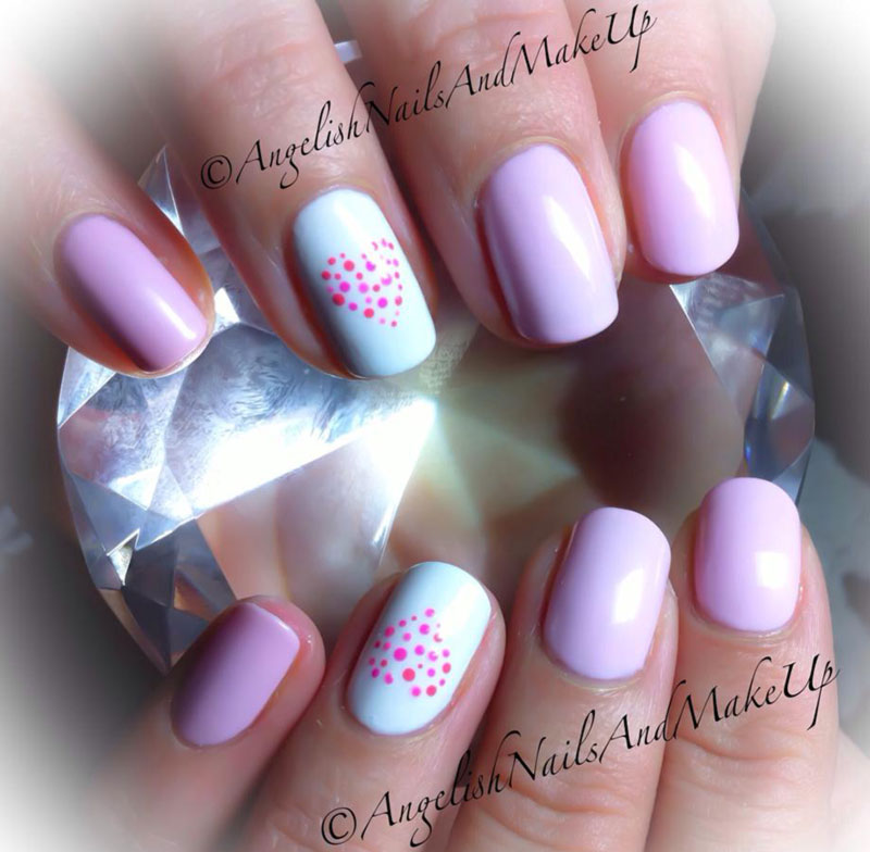 pink gradient dotted heard accent lovely nails