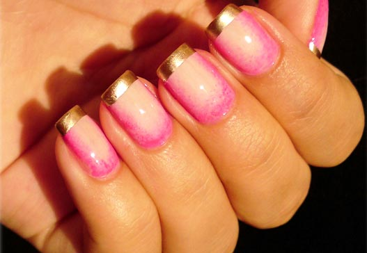 pink gradient gold tip nails