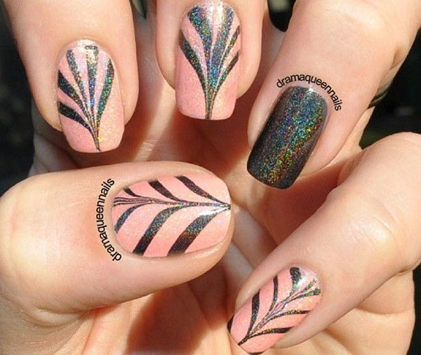 pink grey holo dragged marbled nails