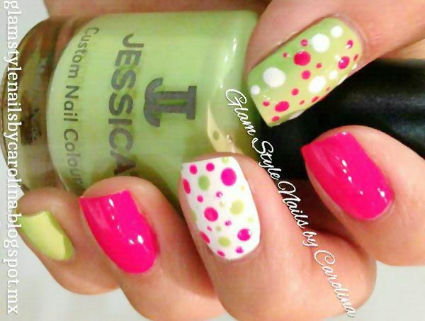 pink green dotted nails