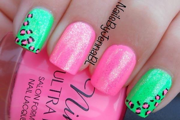pink green leopard shimmer summer nails