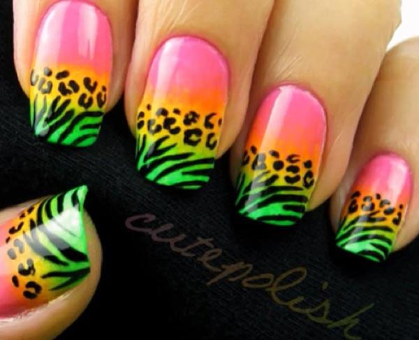 pink green neon gradient tiger leopard nails