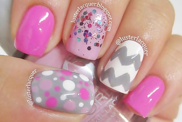 pink grey white glitter girly nails
