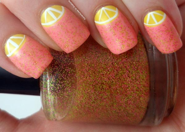 pink halfmoon lemonade summer nails
